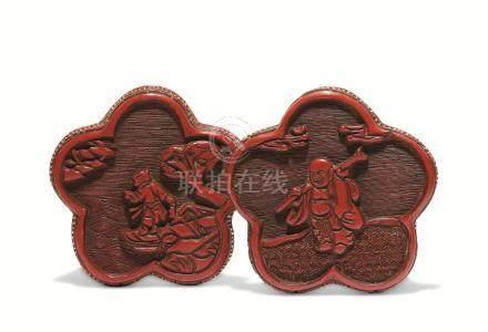 明 剔红布袋和尚梅花形香盒