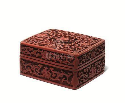 清 剔红宝相纹长方盒
