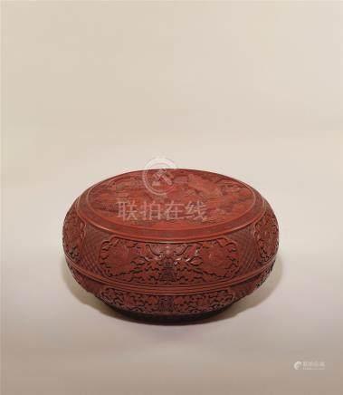 清中期 剔红八仙祝寿图圆盒