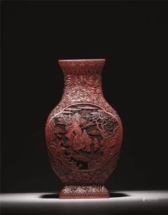 清中期 剔红牡丹纹开光高仕图方瓶