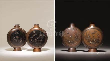 明治时期 铜错金银水禽图扁瓶 (一对)