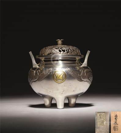 明治时期 纯银金象嵌桐纹雕凤凰香炉