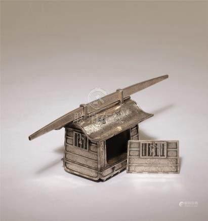 明治时期 银製刻牡丹大名笼