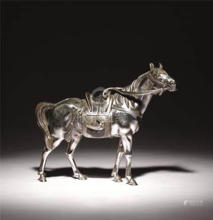 大正时期 银製骏马