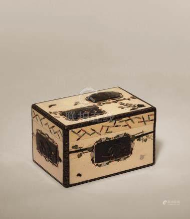 明治时期 芝山金工宝物箱