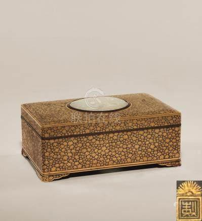 明治时期 金工嵌玉长方盒