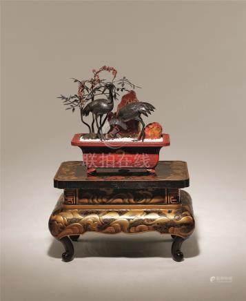 雕漆盆仙鹤盆景