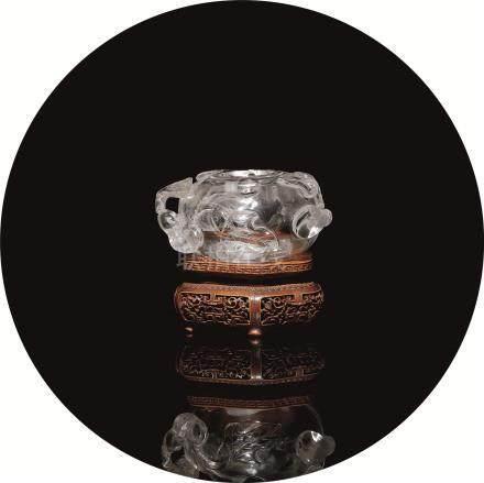 清 水晶雕瑞果纹水盂