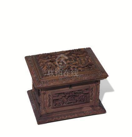 十九世纪 檀香木雕楼阁人物宝石盒