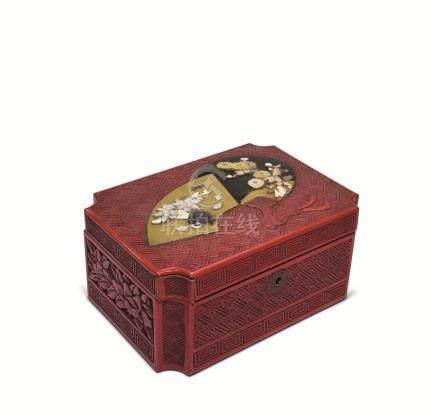 明治时期 剔红嵌百宝扇纹首饰盒