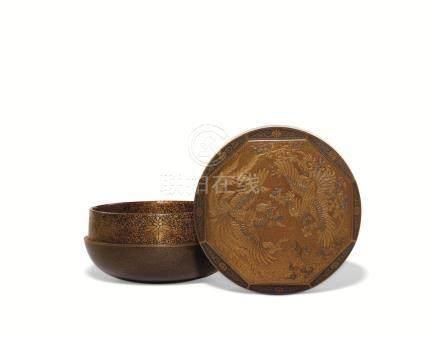 明治时期 莳绘双凤纹香盒