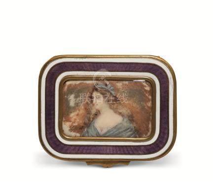 铜鎏金画珐琅西洋人物图宝石盒