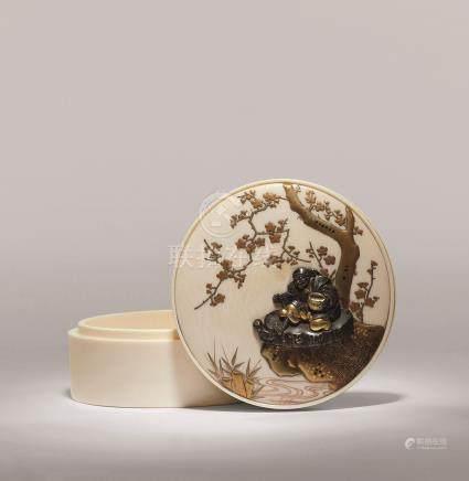 明治 莳绘错金银梅花财神香盒