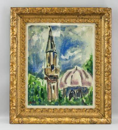 Adolf Hoelzel German Realist Watercolor/Board