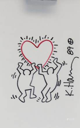 Keith Haring American Pop Art Marker Paper Signed