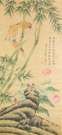 Hua Yan 1682-1756 Chinese Watercolor Bamboo Scroll