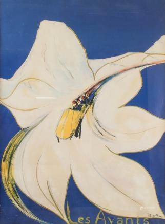 "DASTO ""Les Avants"" Print Dated 1984 White Lily"