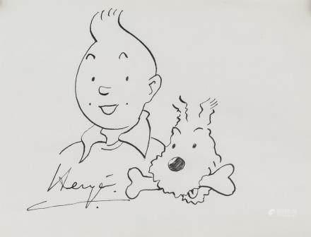 Herge Belgian Belgian Pop Art Ink on Paper Tintin