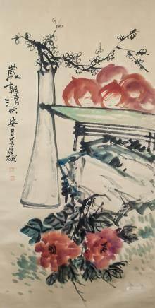 Wu Changshuo 1844-1927 Chinese Watercolor Scroll