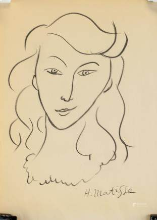 Henri Matisse French Charcoal on Paper Signed