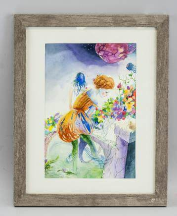 Canadian Watercolor Gilt Painting Framed 2011