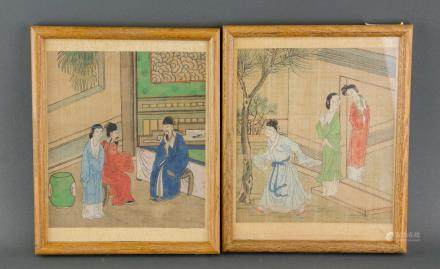 Pair Chinese Watercolor on Silk with Frame