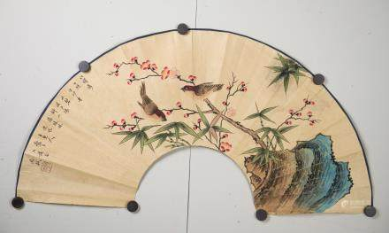Ma Shi ?-1457 Chinese Flower & Bird Fan Painting