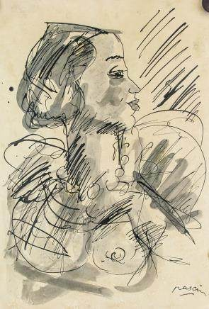 Jules Pascin Bulgarian Cubist Ink Paper