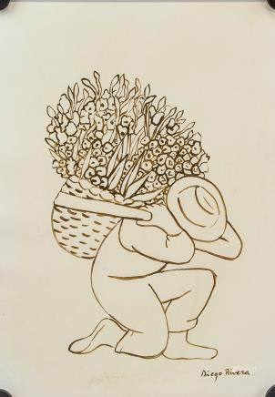 Diego Rivera Mexican Post-Impressionist Ink