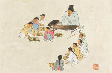 Old Korean Watercolor on Paper with Artist Seal