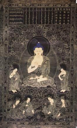 Chinese Shakyamuni Buddha Gilt Tanka Print
