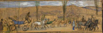 Oswald Roux 1880-1960 Austrian Watercolor/Panel