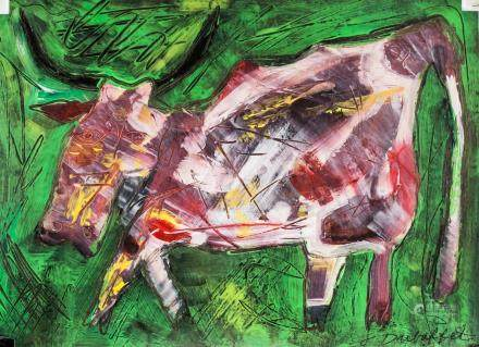 French Gouache on Paper of Cow Illegibly Signed