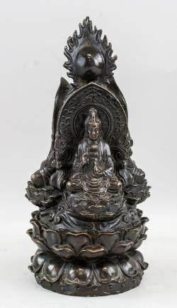 Chinese Bronze Three-Side Buddha Statue