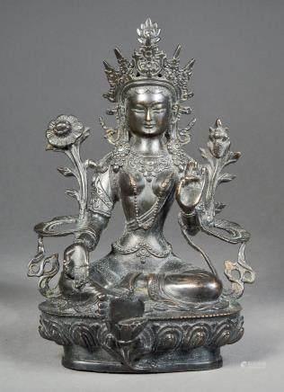 Tibetan Bronze Green Tara Statue Double Vajra MK