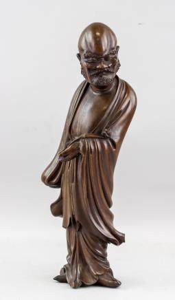 Chinese Rosewood Carved Lohan Statue