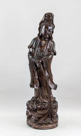 Vintage Chinese Zitan Wood Carved Guanyin Statue