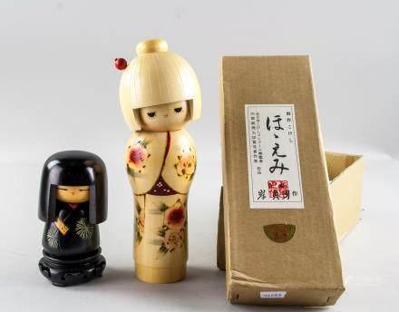 2 Assorted Japanese Kyouningyou & Kokeshi Dolls