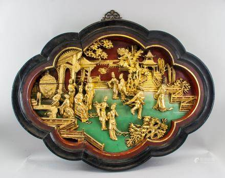 Large Chinese Gilt Wood Carved Hanging Plaque