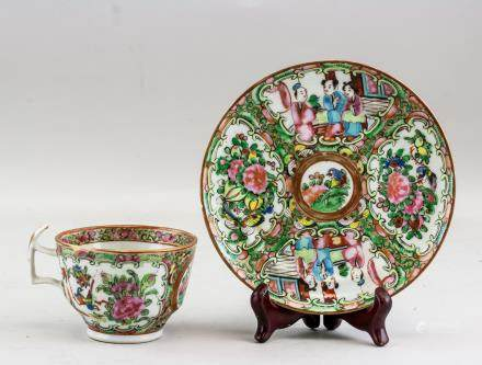 Chinese Canton Enamel Porcelain Cup and Saucer