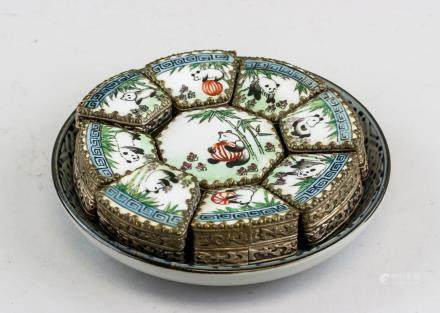 Chinese Silver Porcelain Jewelry Boxes and Saucer