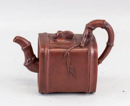 Chinese Zisha Bamboo Teapot Gu Jingzhou Mark