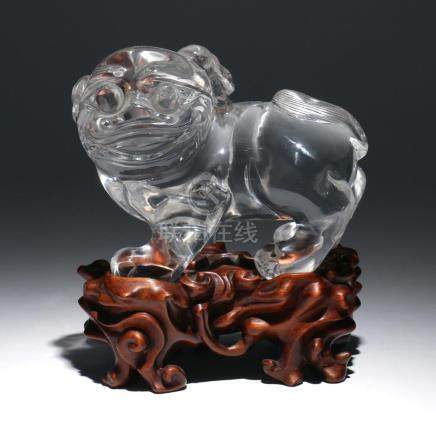 CHINESE ROCK CRYSTAL CARVED FOO DOG