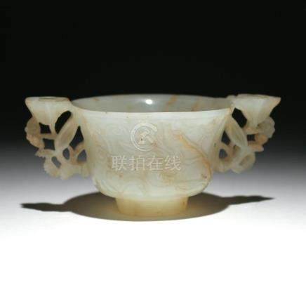 CHINESE WHITE JADE DOUBLE-HANDLE CUP