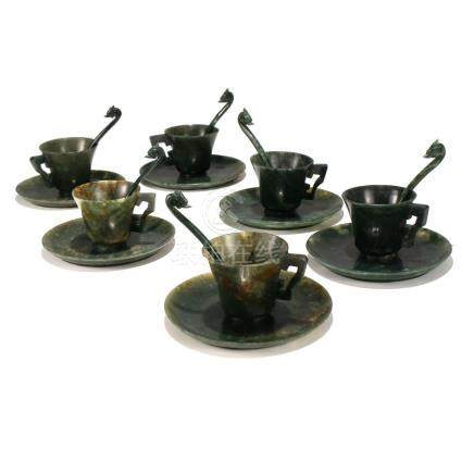 (18pc) CHINESE SPINACH JADE CUPS & SAUCERS