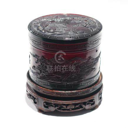 CHINESE RED AMBER COVERED BOX