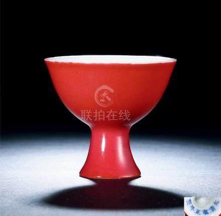 清雍正 胭脂红釉小高足杯
