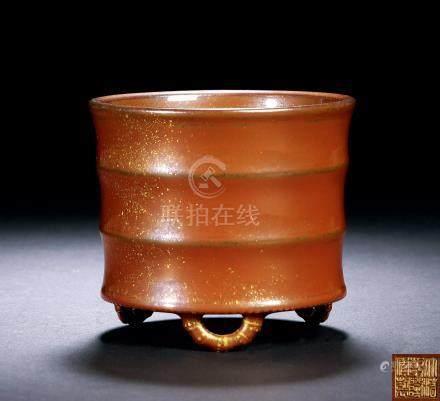 清乾隆 仿铜釉酱地洒金竹节三足炉