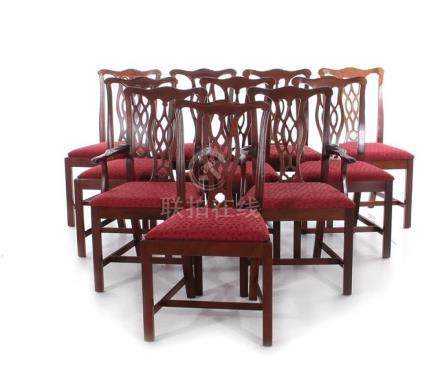 Chinese Chippendale style mahogany dining chairs, set of ten