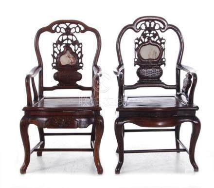 Near pair Chinese marble-inset carved hardwood armchairs (2p